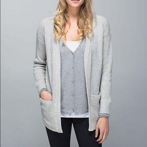 Lululemon Vestigan Heathered Grey Sweater Cardigan